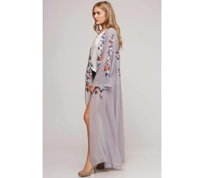 Gray Floral Embroidered Duster Kimono - Little Gypsie Boutique