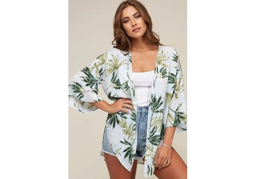 Tropic Leaf Print Kimono