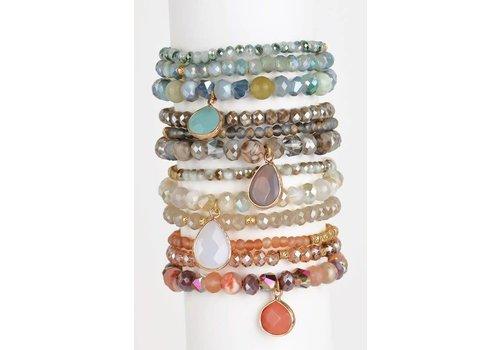 Natural Stone Charm Bracelet Trios- 3 Color Choices