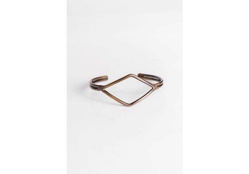 Simple Antique Gold Adjustable Geo Cuff