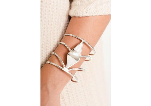 Contrasting Gem Stone Silver Cuff Bracelet