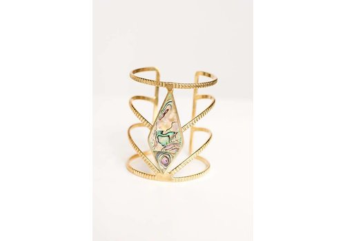 Diamond Gem Stone Cuff in Gold