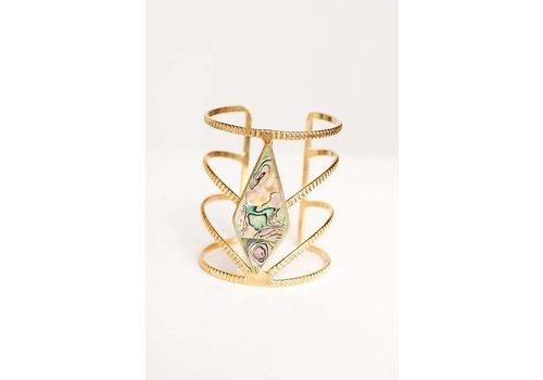 Diamond Gem Stone Cuff in Gold