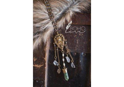 Gold Medallion & Stone Necklace
