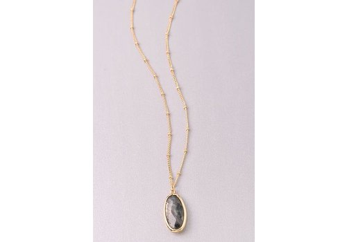 Semi Precious Stone Oval Necklaces-3 Color Choices