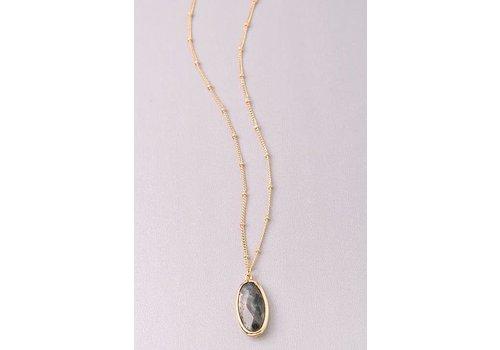 Semi Precious Stone Oval Necklaces-3 Color Choices