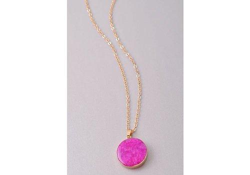 Natural Stone Circle Pendant Necklaces- 5 Color Choices