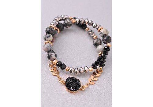 Natural Stone Druzy & Gold Leaf Wrap Bracelet