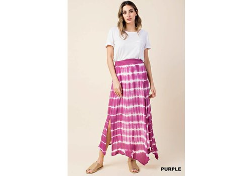 Orchid Purple Tie Dye Slit Maxi Skirt