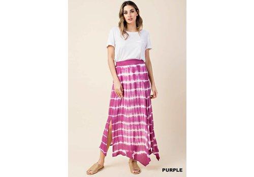 Orchid Purple Tie Dye Slit Maxi Skirt