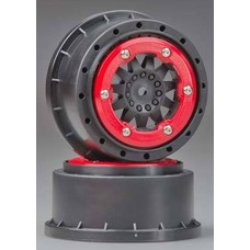 "Proline Racing PRO2745-03 - Pro-Line Pro Trac F-11 2.2""/3.0"" RED/ BLACK BEAD LOC WHEELS"