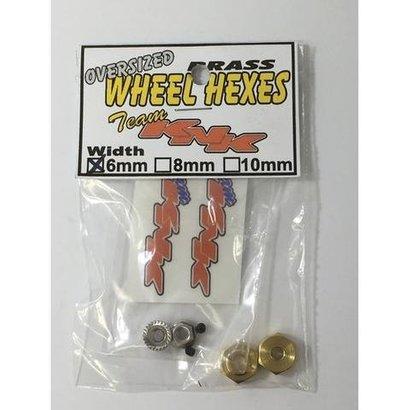 Team KNK KNKBH6MM - Team KNK  12mm x 6mm Brass Wheel Hexes (2)