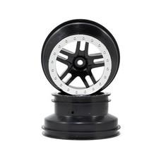 """Traxxas TRA5884 - Traxxas SCT Split-Spoke, black, satin chrome beadlock style, dual profile (2.2"""" outer, 3.0"""" inner) (4WD f/r, 2WD rear) (2)"""
