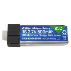 E-flite EFLB5001S25UM - E-Flite 3.7V 500mAh 1S 25C LiPo, High Current UMX Connector