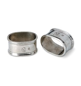 MATCH PEWTER OVAL NAPKIN RINGS-PAIR