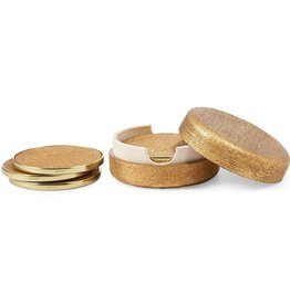 AERIN COASTERS GOLD LINEN S/4