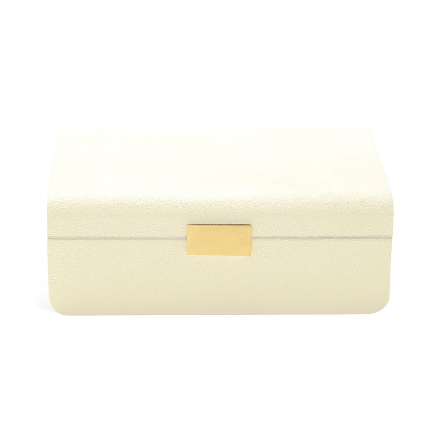 AERIN MODERN SHAGREEN JEWELRY BOX CREAM