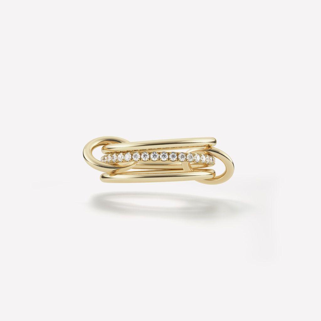 SPINELLI KILCOLLIN SONNY RING 18K YELLOW GOLD WHITE DIAMONDS SIZE 6.5