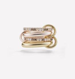 SPINELLI KILCOLLIN CANCER RING 18K ROSE & YELLOW GOLD WHT&COGNAC DIAMONDS SIZE 7