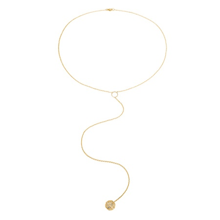 HALLEH JEWELRY HALLEH JEWELRY LARIAT NECKLACE WITH WHITE DIAMOND + PEARL
