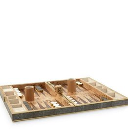 AERIN CHOCOLATE SHAGREEN BACKGAMMON SET IN CHOCOLATE