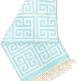 JONATHAN ADLER ENTERPRISE JONATHAN ADLER GREEK KEY THROW IN LIGHT BLUE