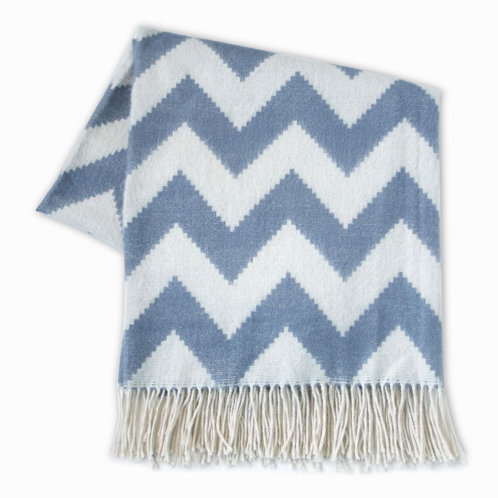 JONATHAN ADLER ENTERPRISE ZIG ZAG THROW IN GREY