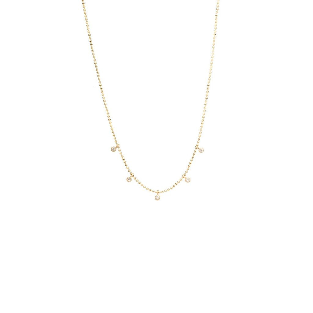 ZOE CHICCO ZOE CHICCO DANGLING DIAMONDS BEAD CHAIN NECKLACE