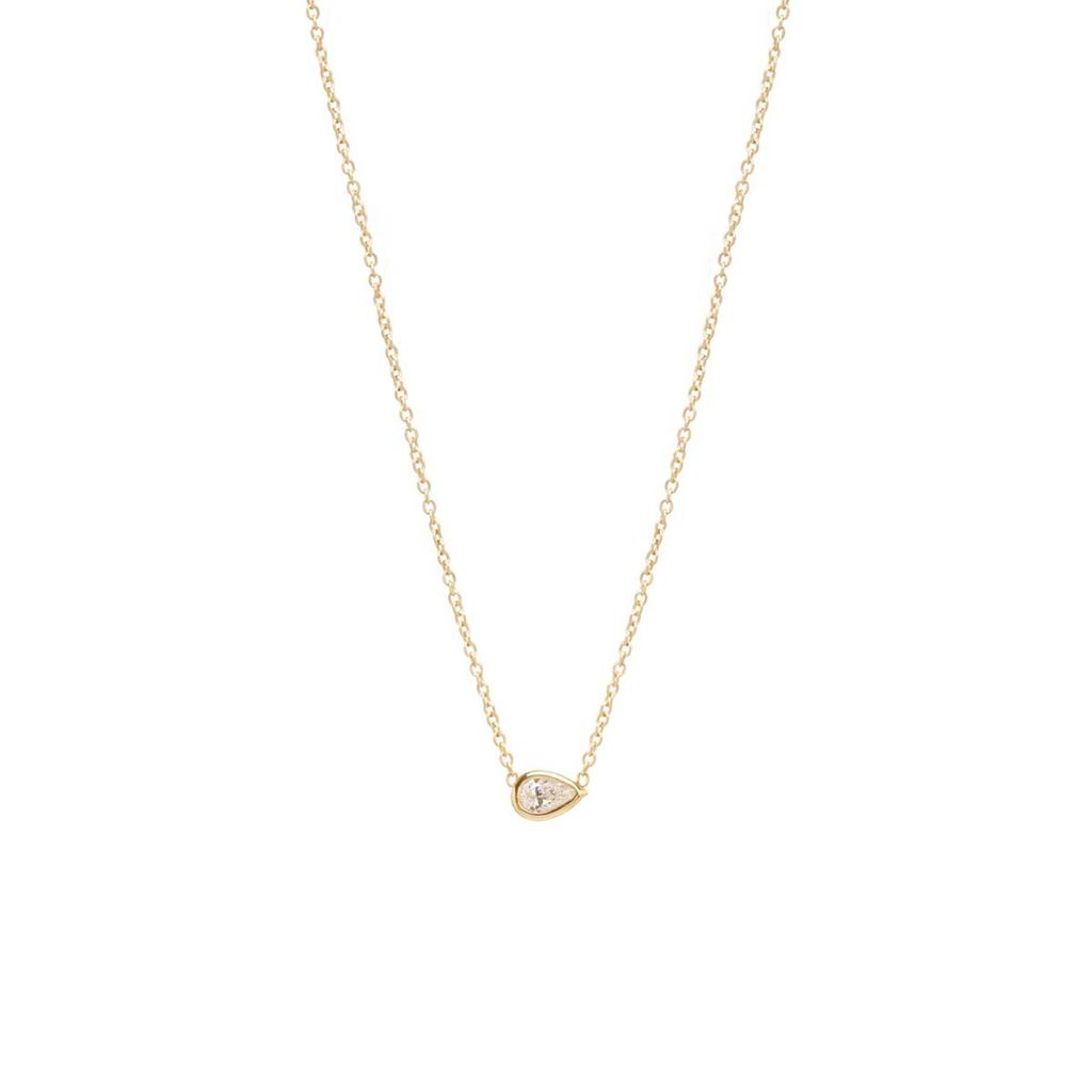 ZOE CHICCO ZOE CHICCO 14K FLOATING TEARDROP DIAMOND NECKLACE