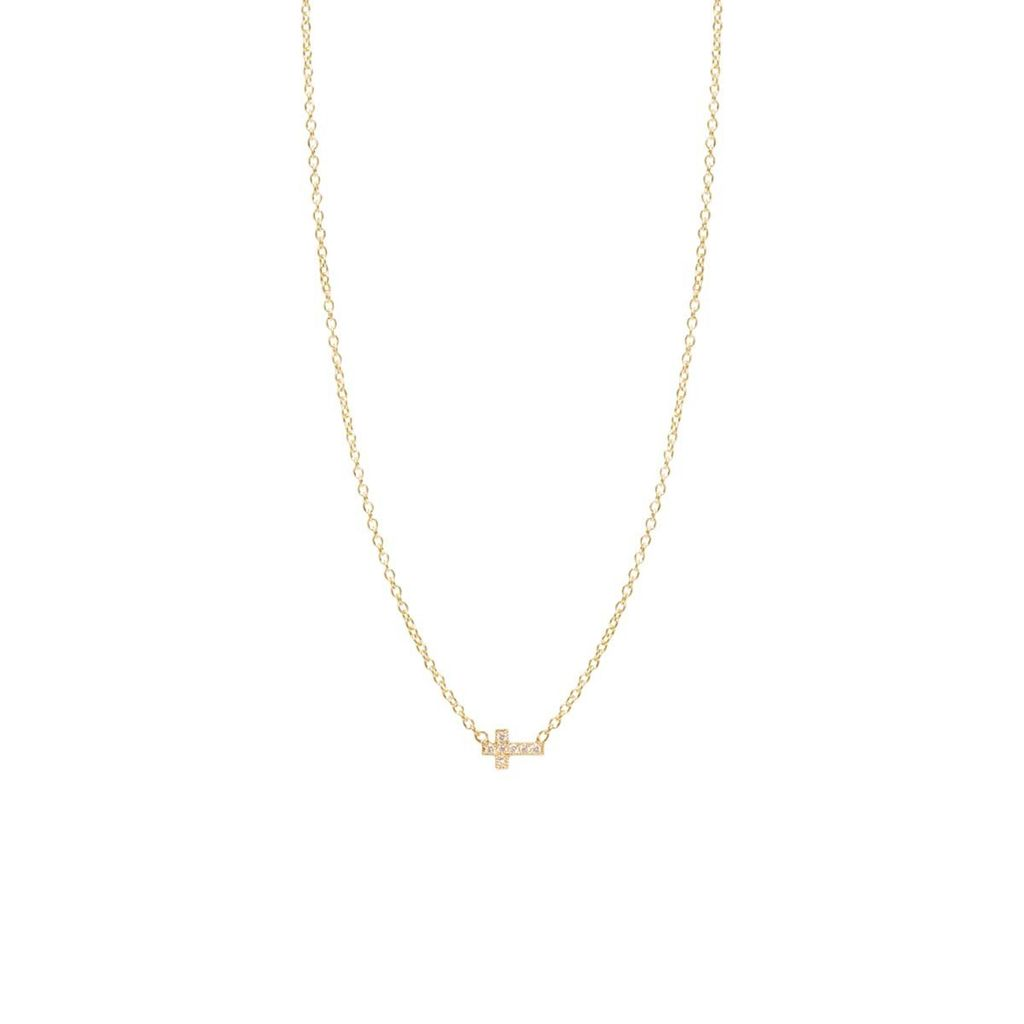 ZOE CHICCO ZOE CHICCO ITTY BITTY OFF CENTER DIAMOND PAVE CROSS NECKLACE