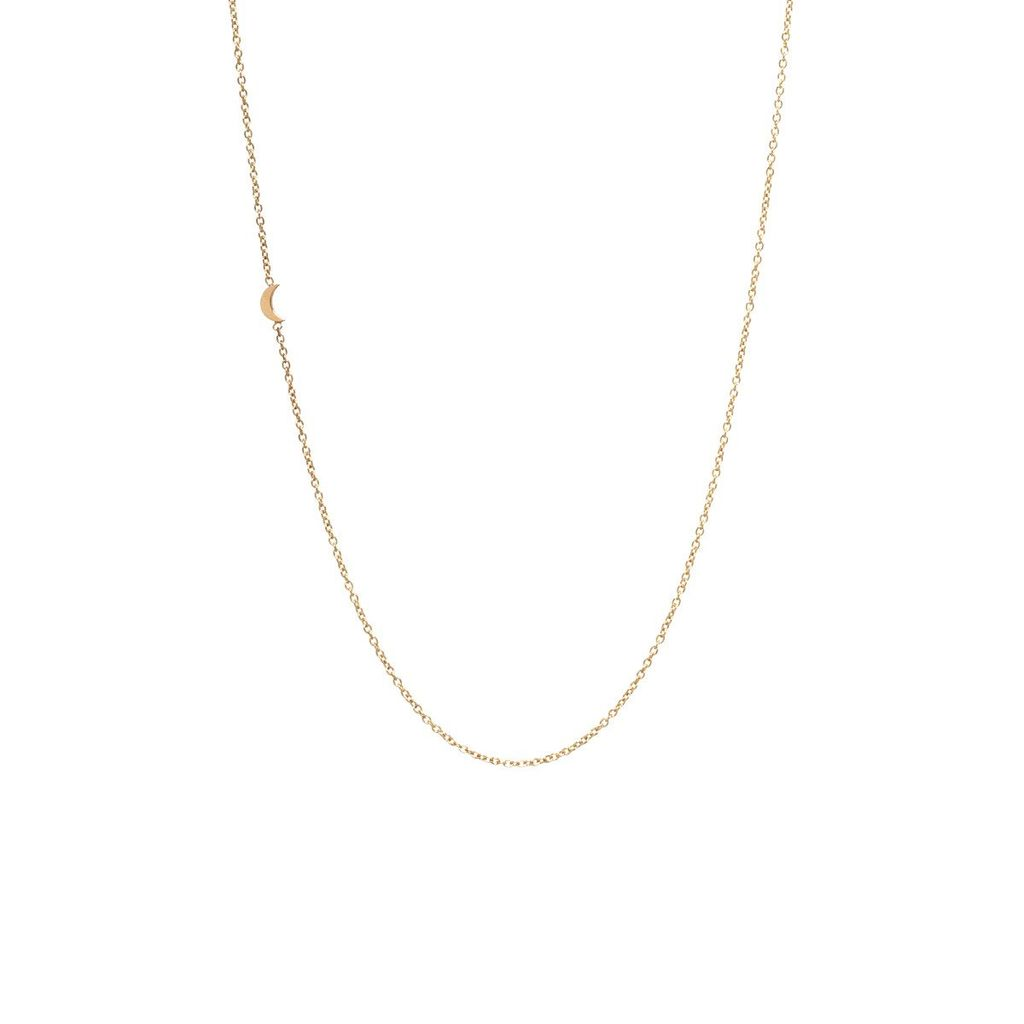 ZOE CHICCO ZOE CHICCO ITTY BITTY OFF CENTER MOON NECKLACE