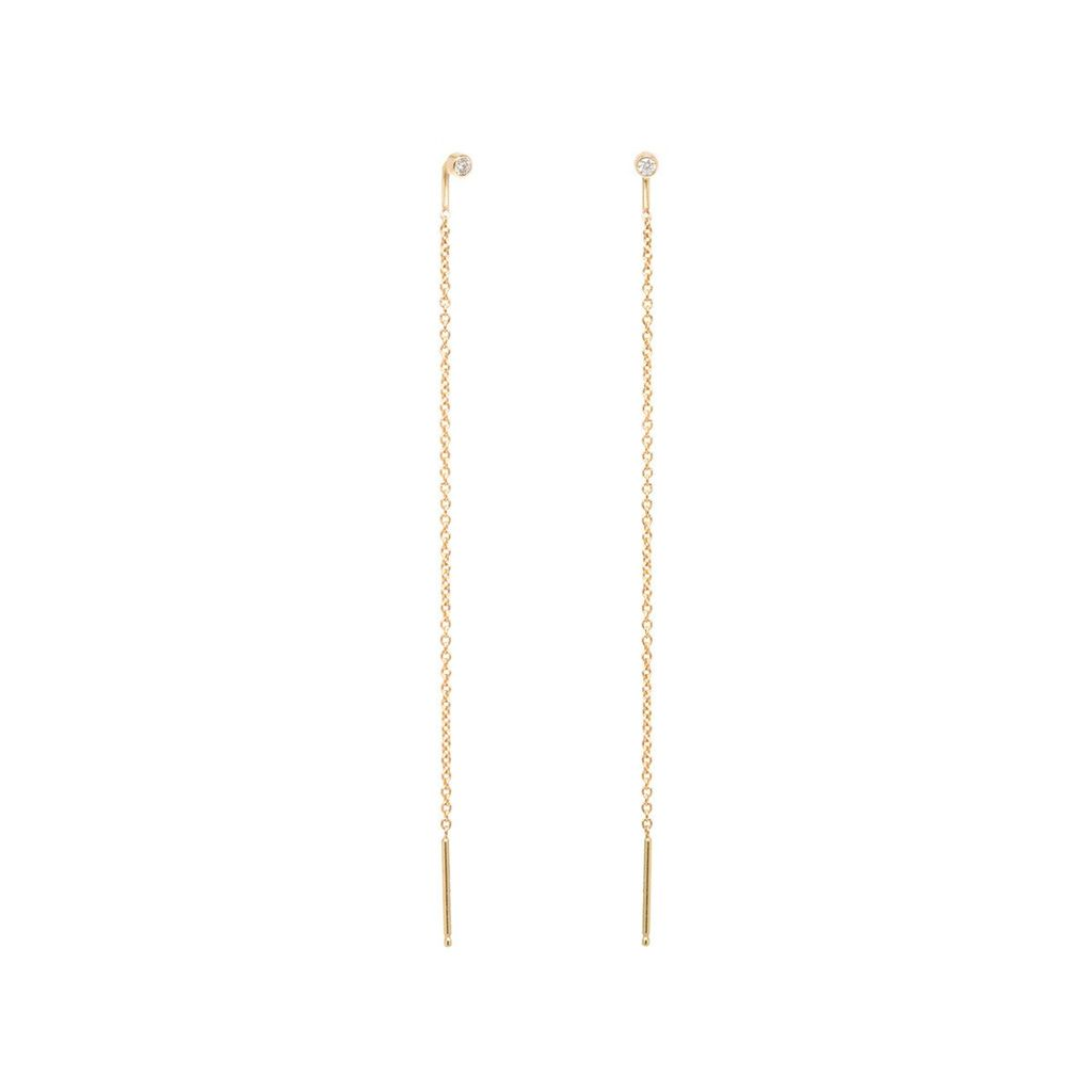 ZOE CHICCO ZOE CHICCO DIAMOND STUD THREADER EARRING