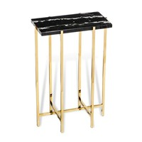 INTERLUDE HOME LAURENT RECTANGLE MARBLE DRINK TABLE