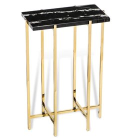 INTERLUDE HOME LAURENT RECT DRINK TABLE BLACK MARBLE
