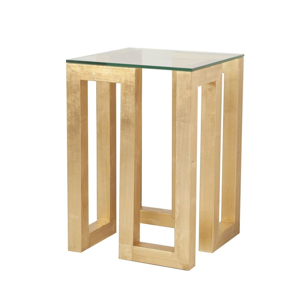 WORLDS AWAY WORLDS AWAY EVAN SIDE TABLE IN GOLD LEAF