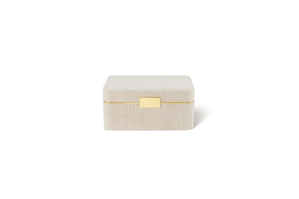 AERIN AERIN BEAUVAIS VELVET JEWELRY BOX IN LONDON FOG