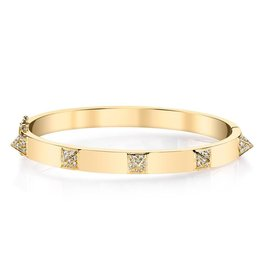 ANITA KO ANITA KO OVAL CUFF WITH DIAMOND SPIKES