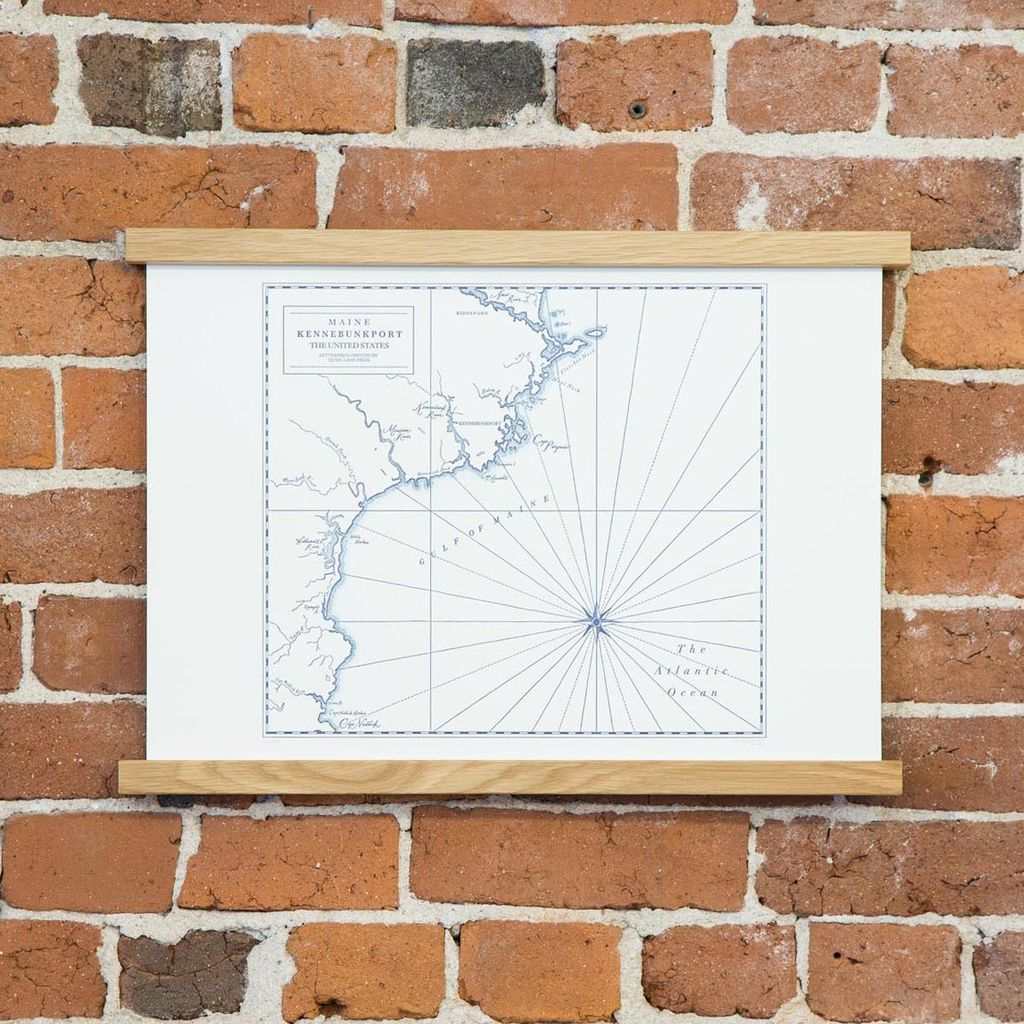 quail lane press Kennebunkport Letterpress Map Print