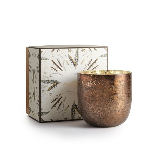 illume candles Woodfire Luxe Sanded Mercury Glass Candle