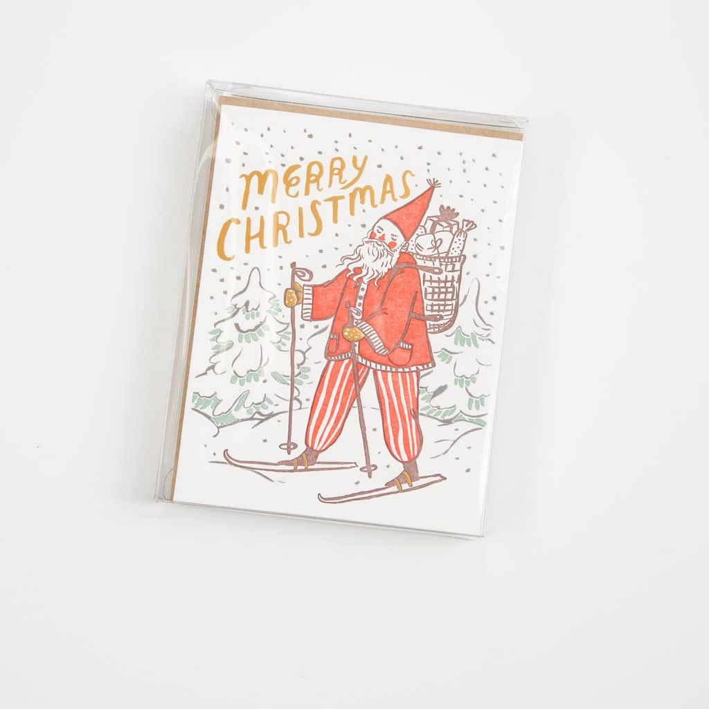 BISON bookbinding and letterpress Skiing Santa Note Set of 8