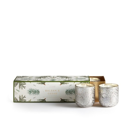 illume candles Balsam + Cedar Mercury Glass Votive  Set Balsam and Cedar Mercury Glass Votives  -  3 pack