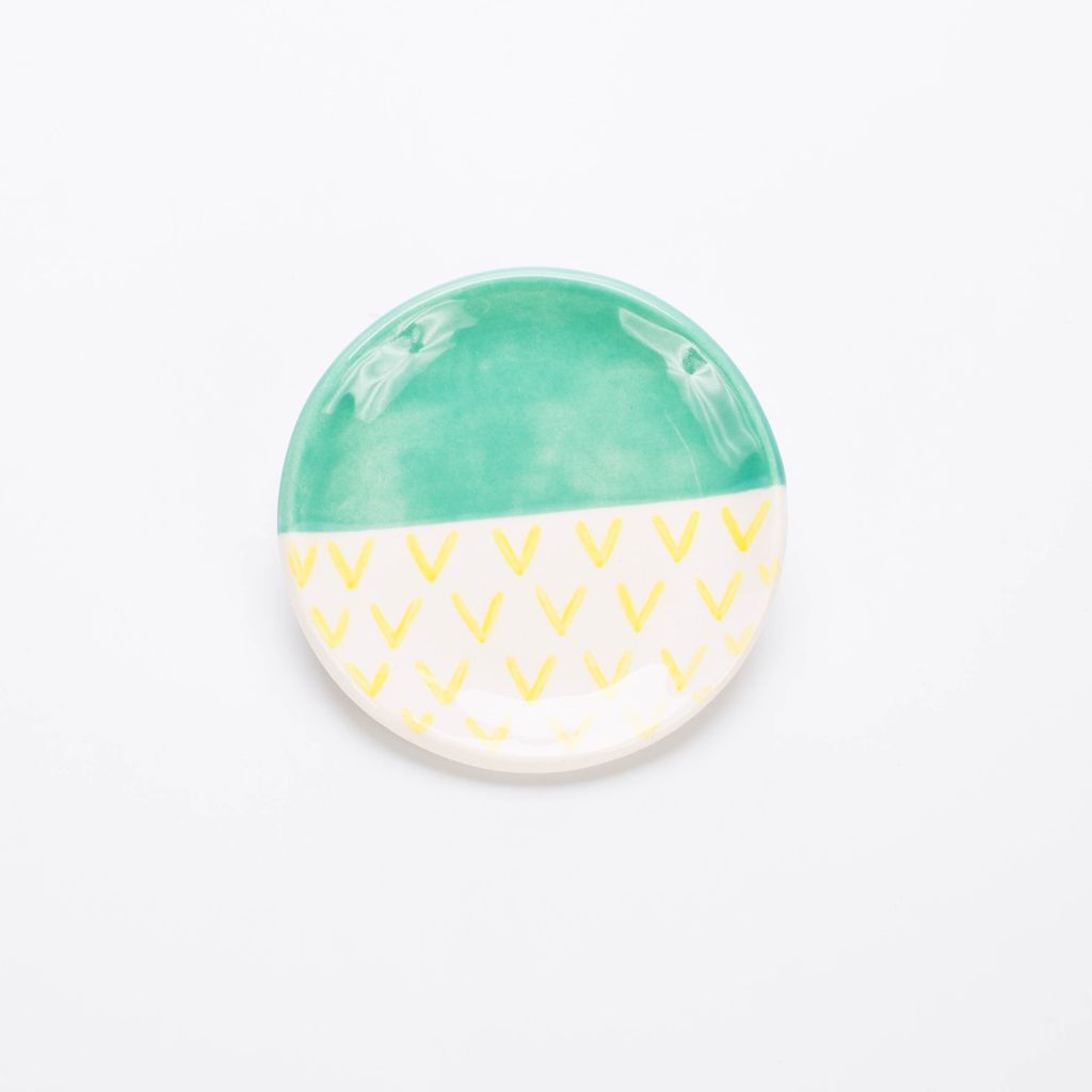 Quiet Clementine QC LG - Color Block Ring Dish, Jade/Yellow Arrow