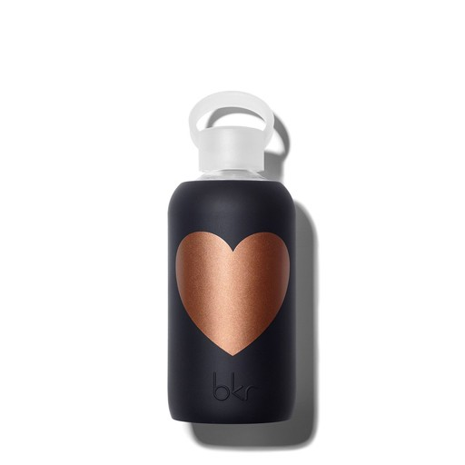 bkr BKRAC0101 - Glass Waterbottle, Copper Jet Heart