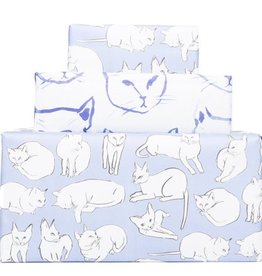 knot and bow Indigo Cats Newsprint Wrapping Paper