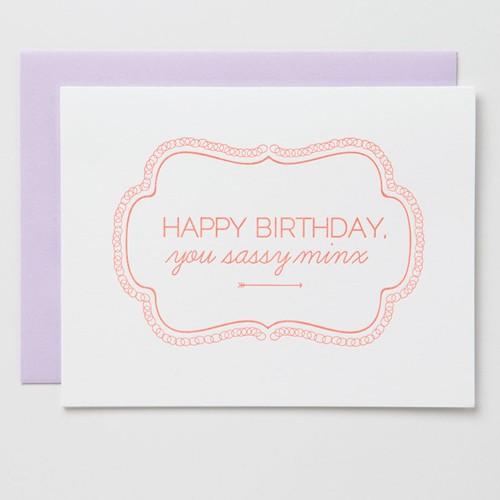 farewell paperie FWPGCBI0008 - Sassy Minx Birthday Card