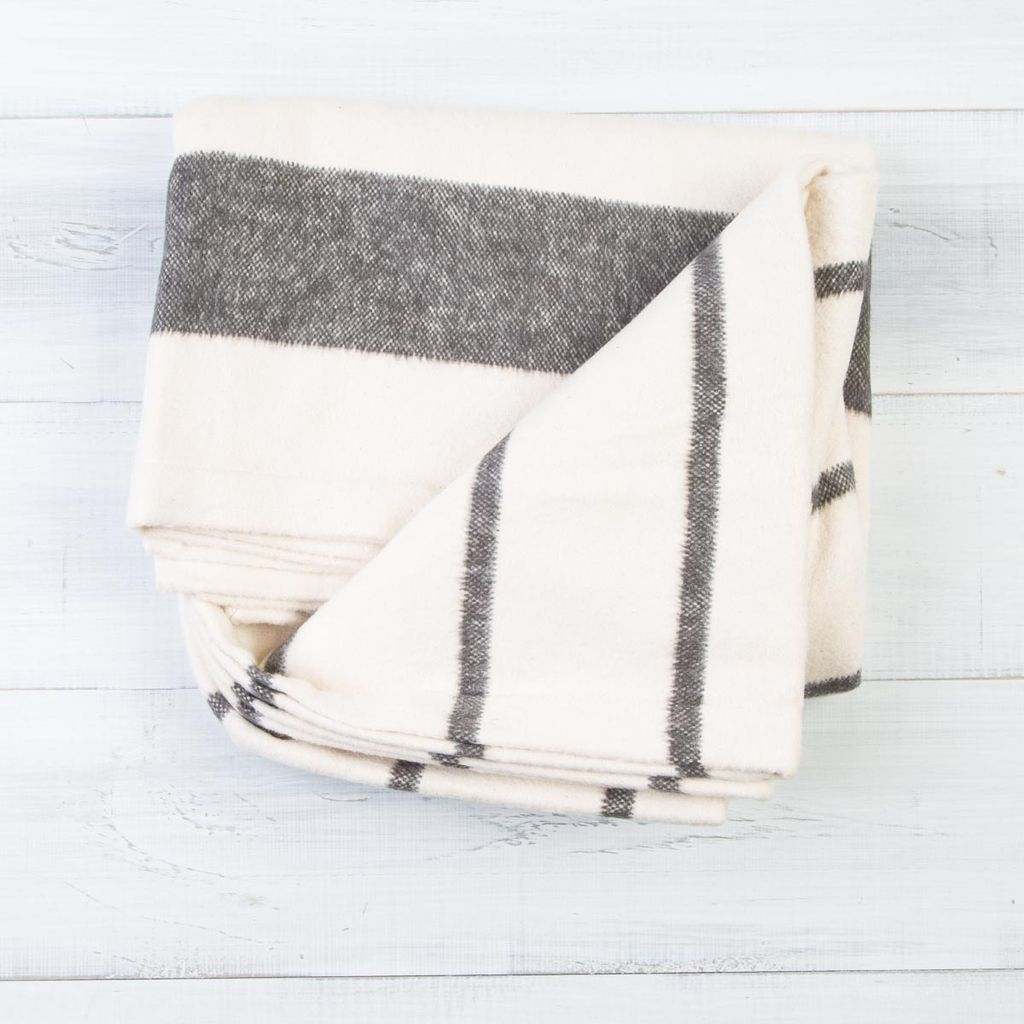 Pehr Charcoal Cotton Flannel Throw