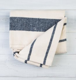 Pehr Navy Cotton Flannel Throw