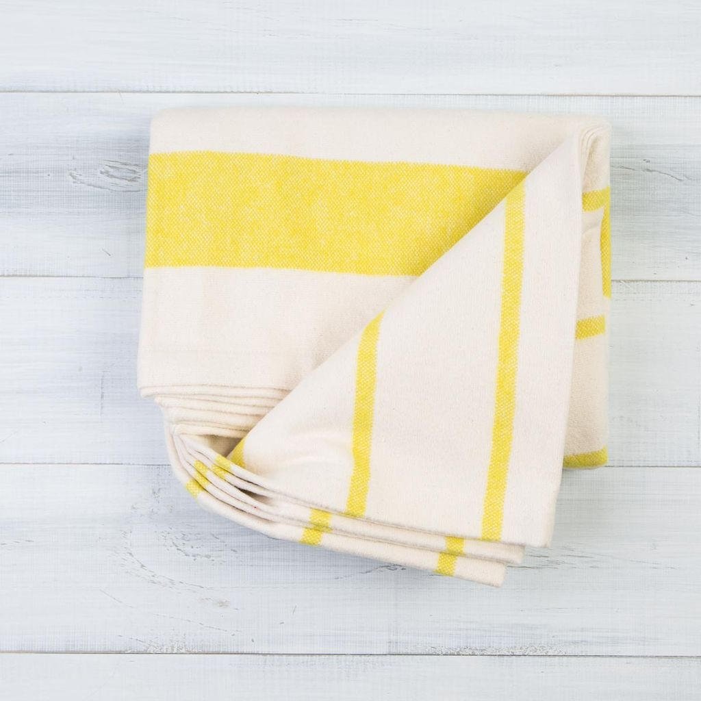 Pehr PE HG - Citron Stripe Cotton Flannel Throw Blanket - 50 Inch x 60 Inch