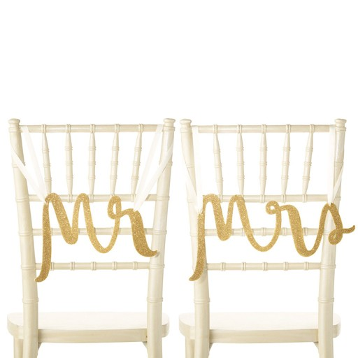 Kate Spade Gold Mr and Mrs Chair Signs