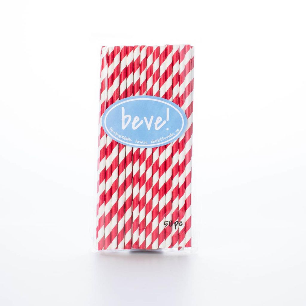 beve! Red Stripe Paper Straws